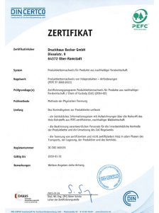 PEFC Zertifikat Druckhaus Becker