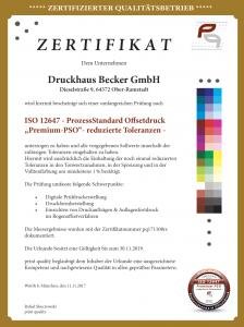 Druckhaus Becker PSO zertifiziert 2017