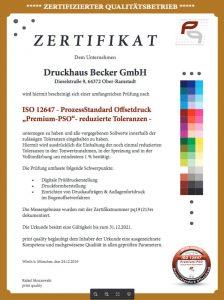 Viertes Premium-PSO Audit für die Druckhaus Becker GmbH!