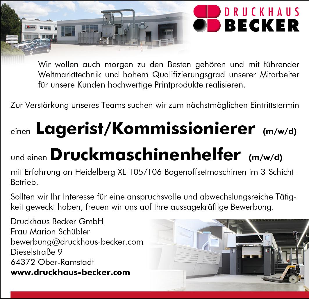 Druckhaus Becker Stellenangebot Lagerist // Druckmaschinenhelfer